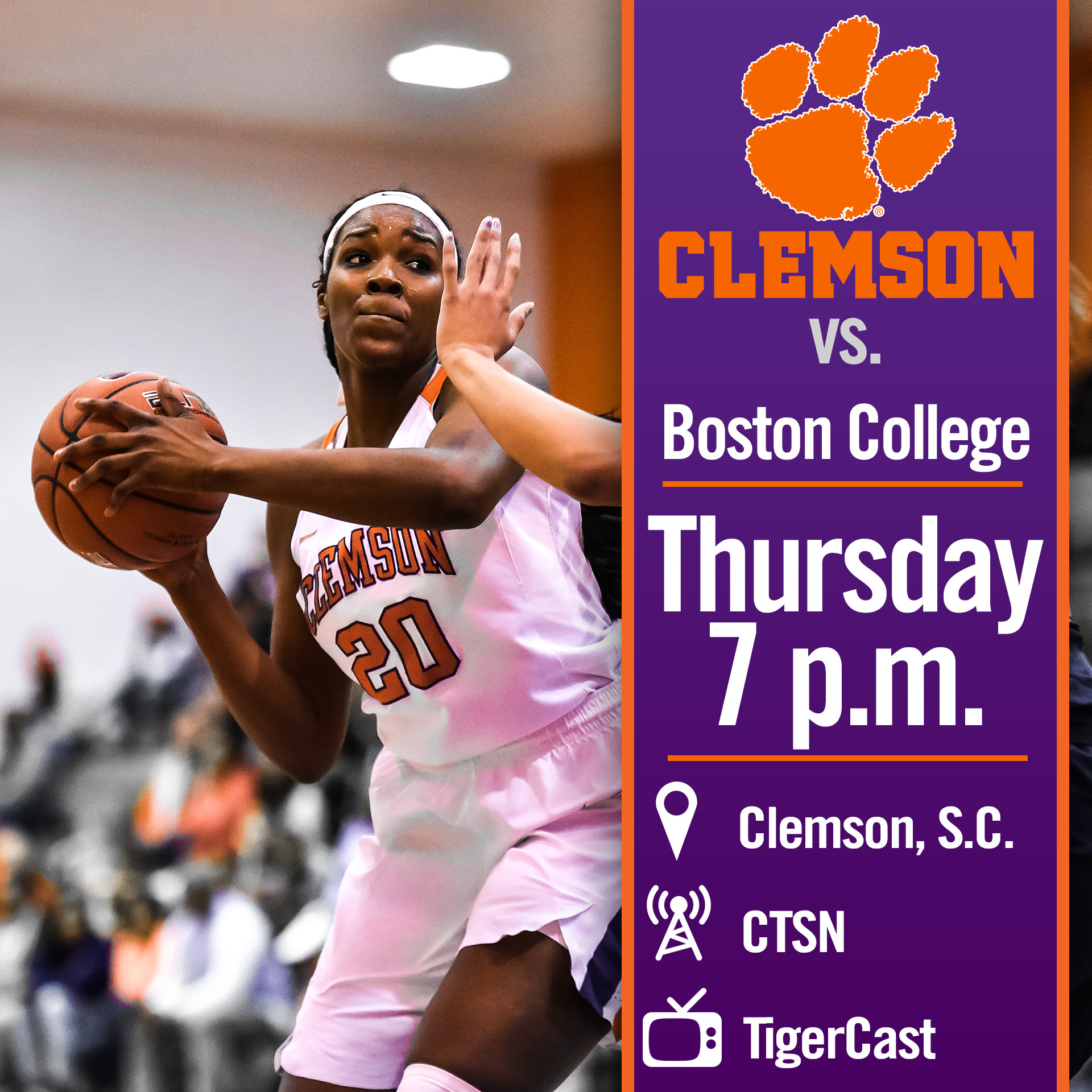 Clemson Hosts Boston College Thursday
