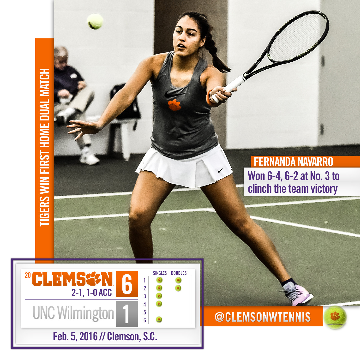 Tigers Down UNC Wilmington in First Home Dual Match