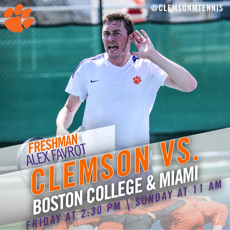 Clemson Hosts Boston College Friday, Miami Sunday