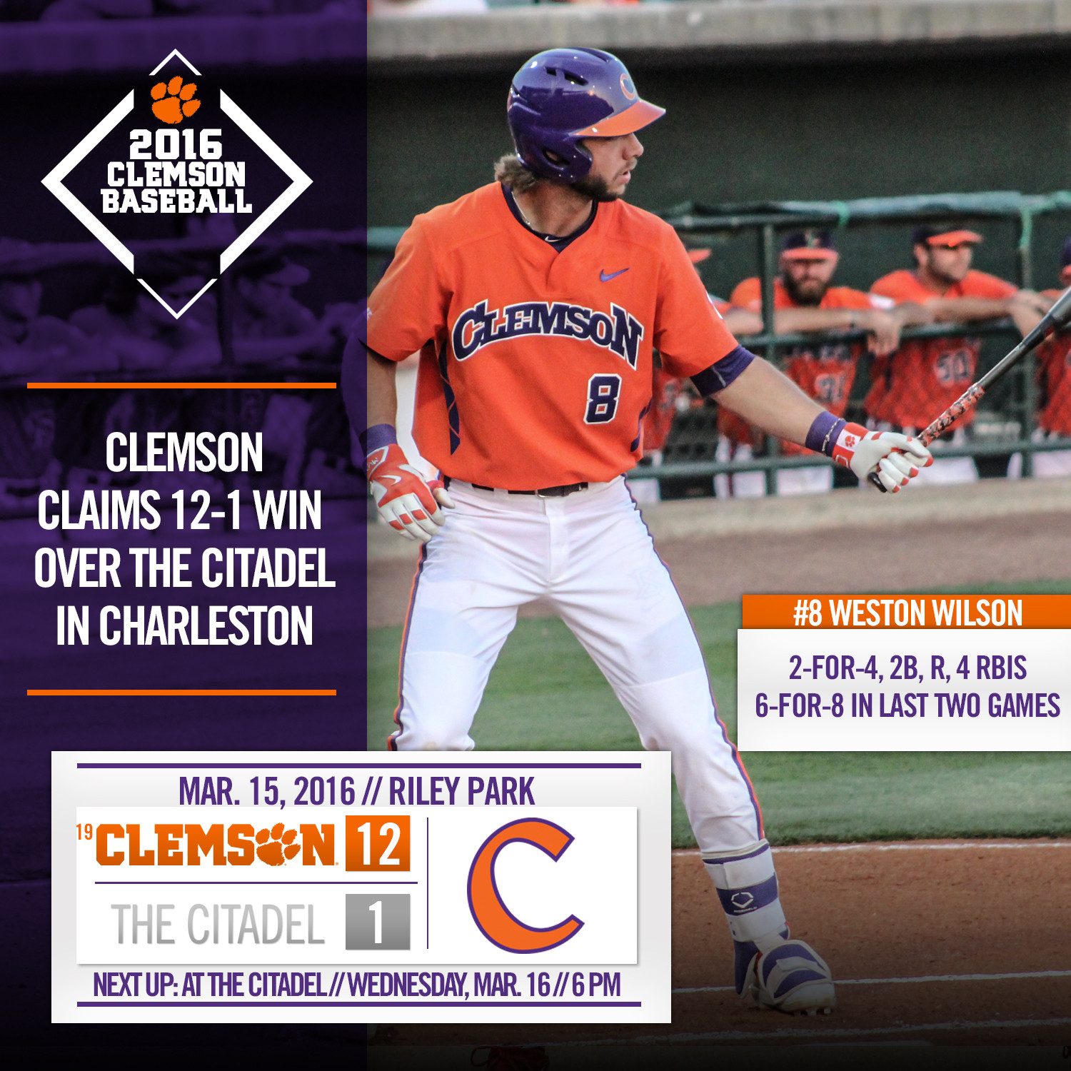 Tigers Topple The Citadel 12-1