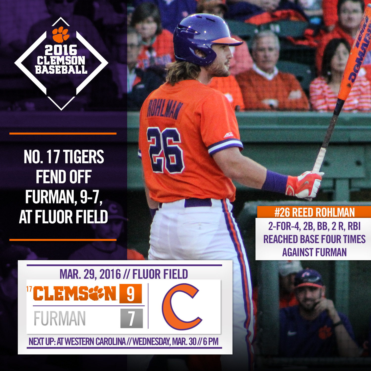 No. 17 Tigers Top Furman 9-7