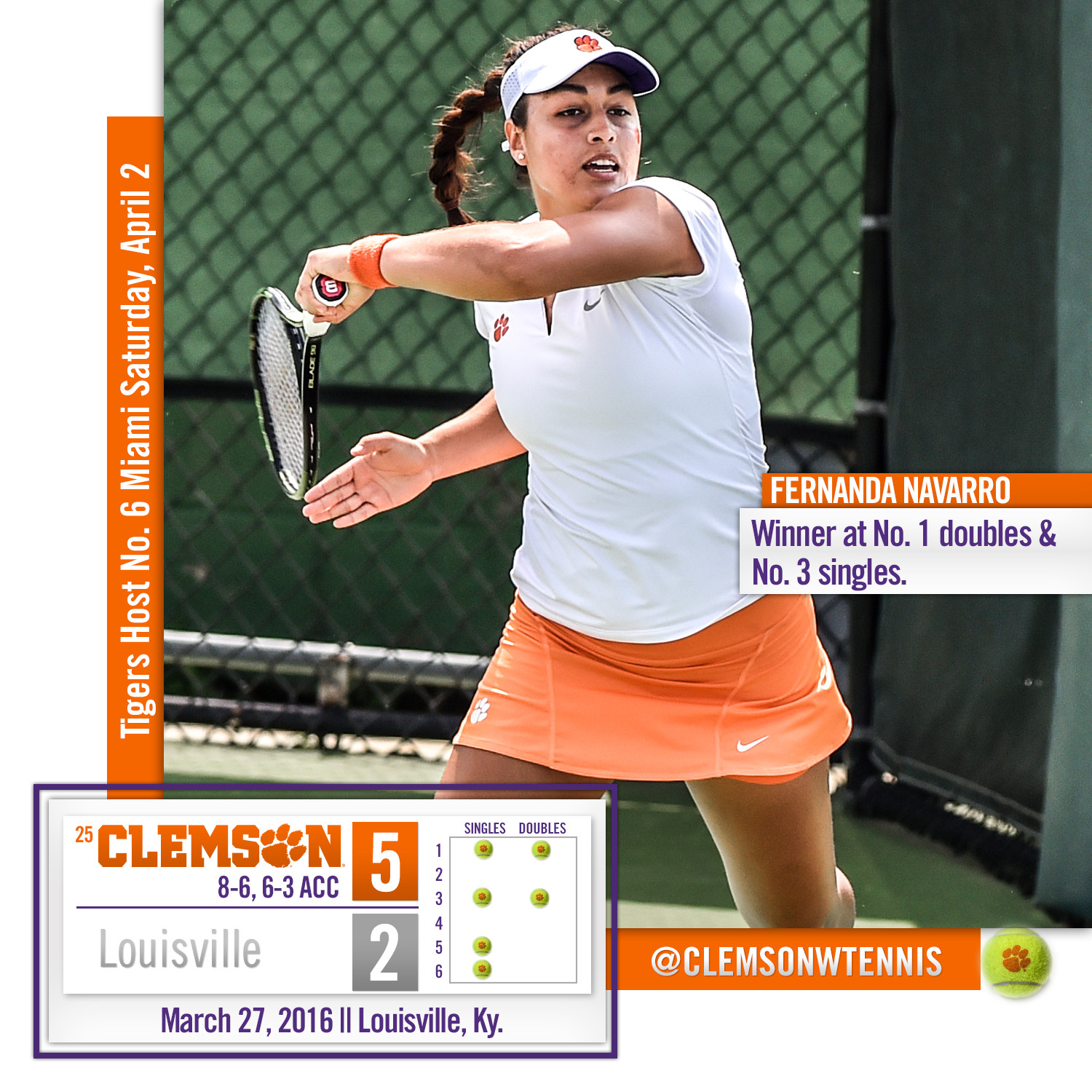 #25 Tigers Pick up ACC Road Win at Louisville Sunday