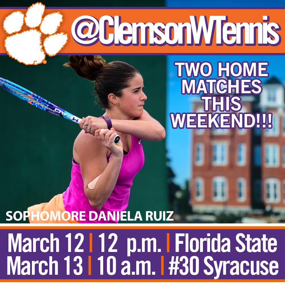 Tigers Host Florida State Saturday, #30 Syracuse Sunday