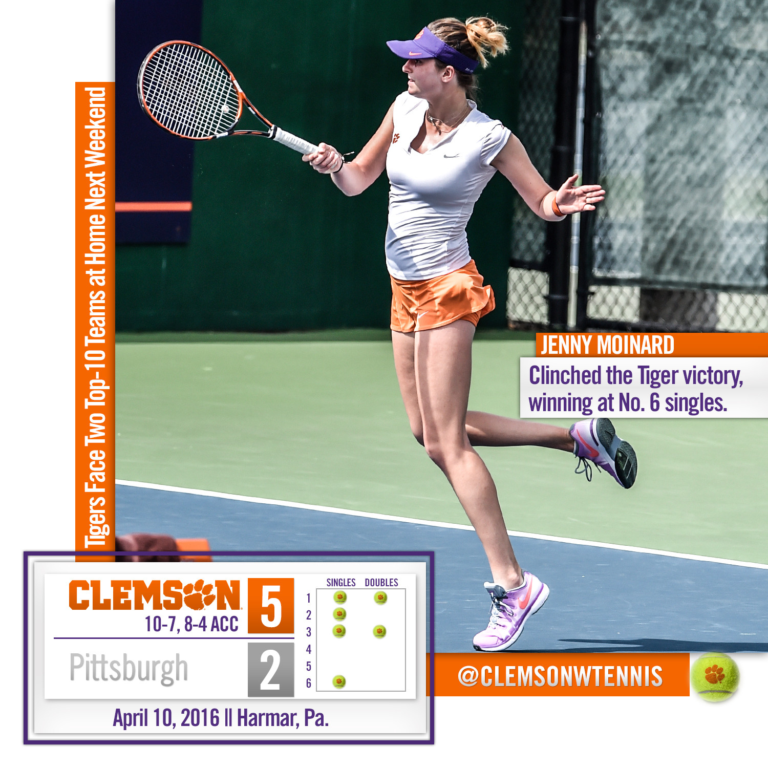 Clemson Defeats Pittsburgh 5-2 on the Road Sunday