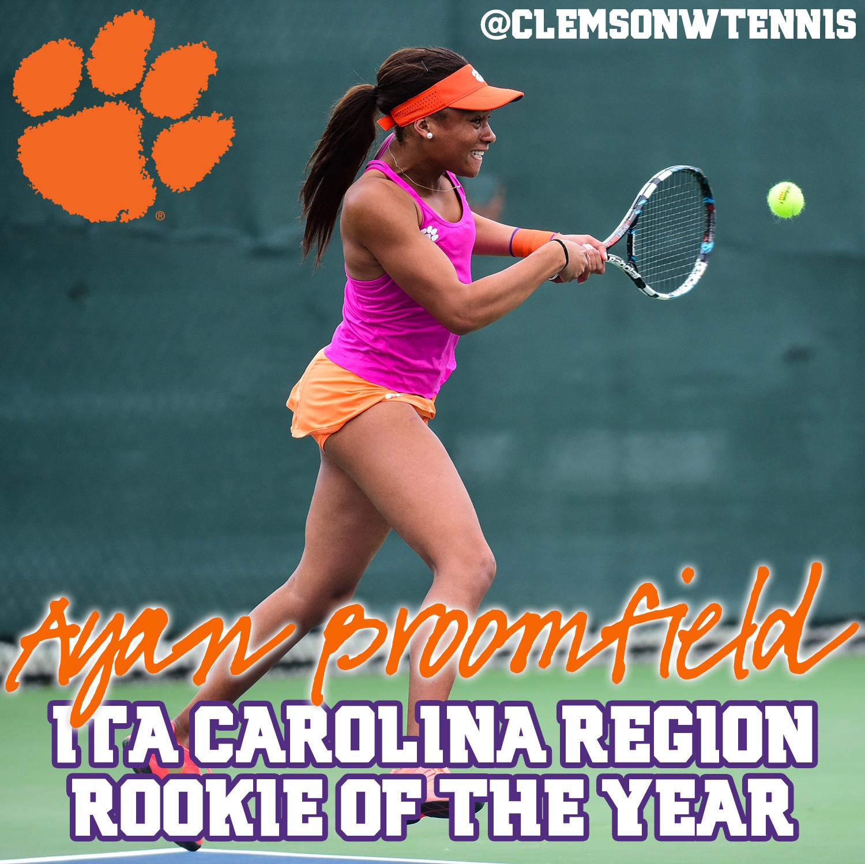 Broomfield Named ITA Carolina Region Rookie of the Year
