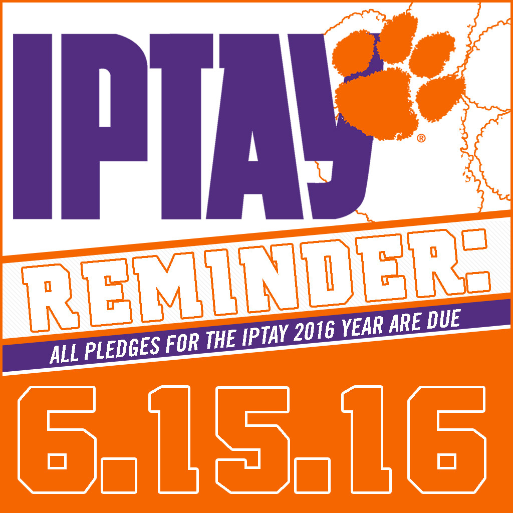 10 Days Remain To Complete IPTAY 2016 Pledge