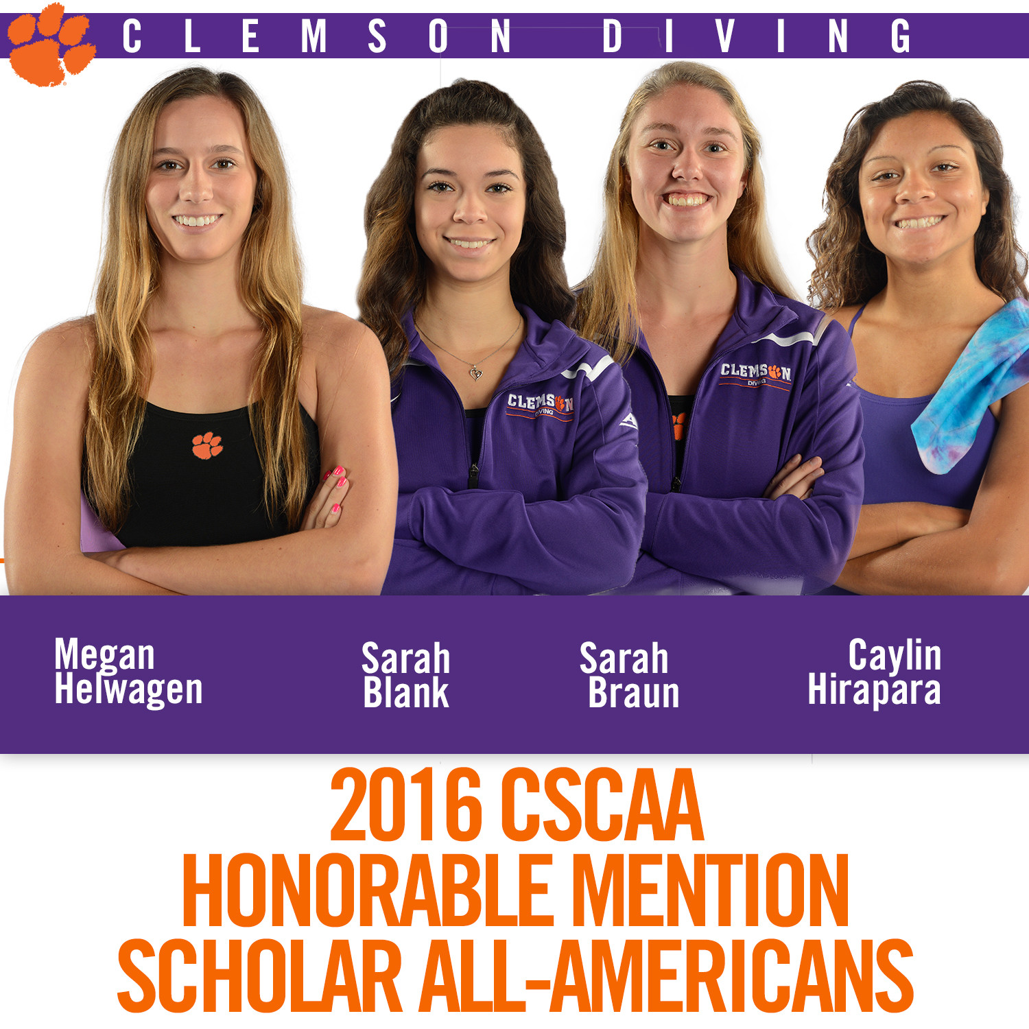 Four Tigers Named CSCAA Scholar All-Americans