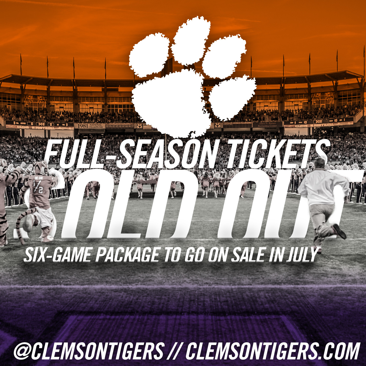 2016 Football Season Tickets Sold Out
