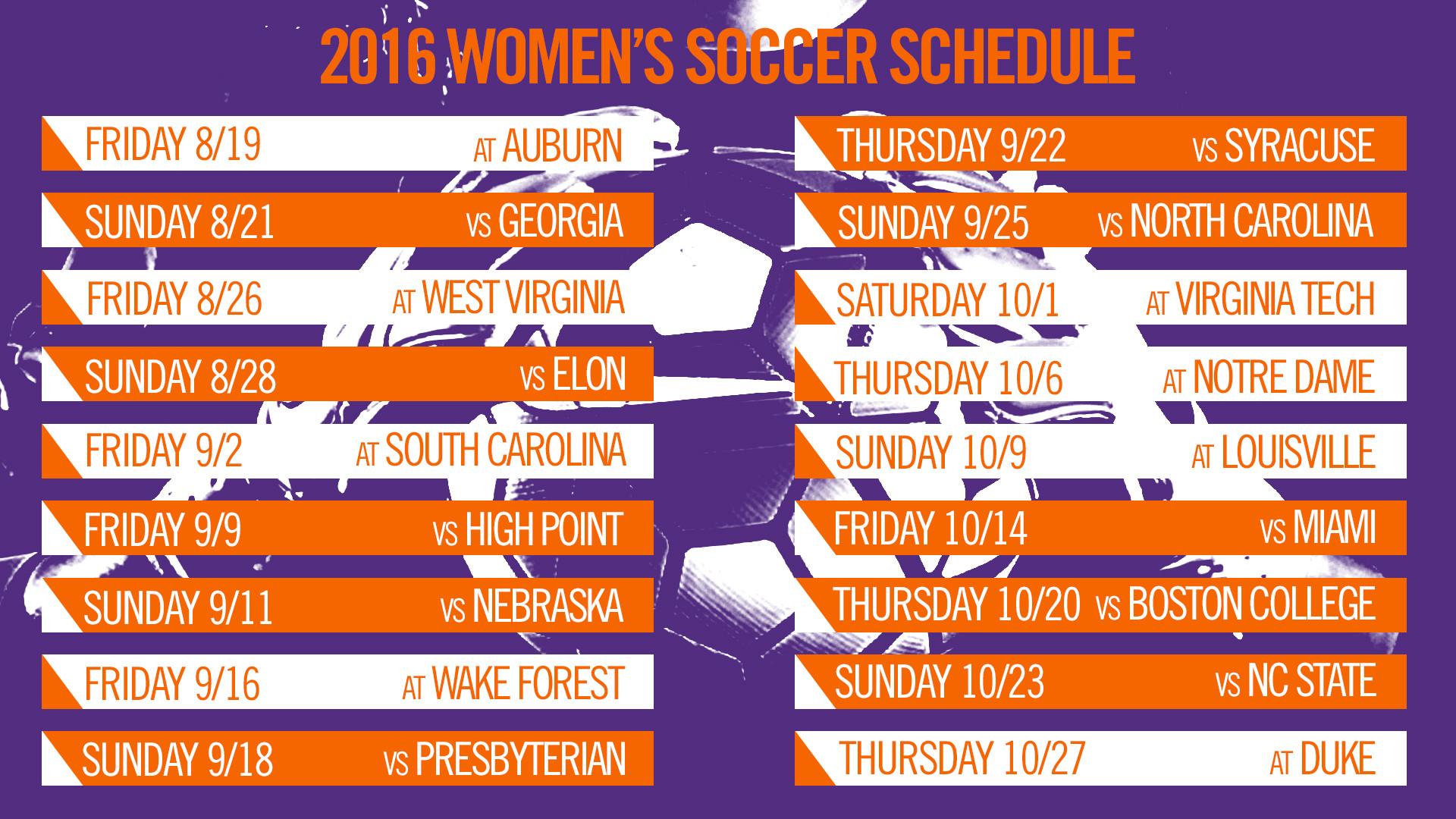 Clemson Women?s Soccer Announces 2016 Schedule