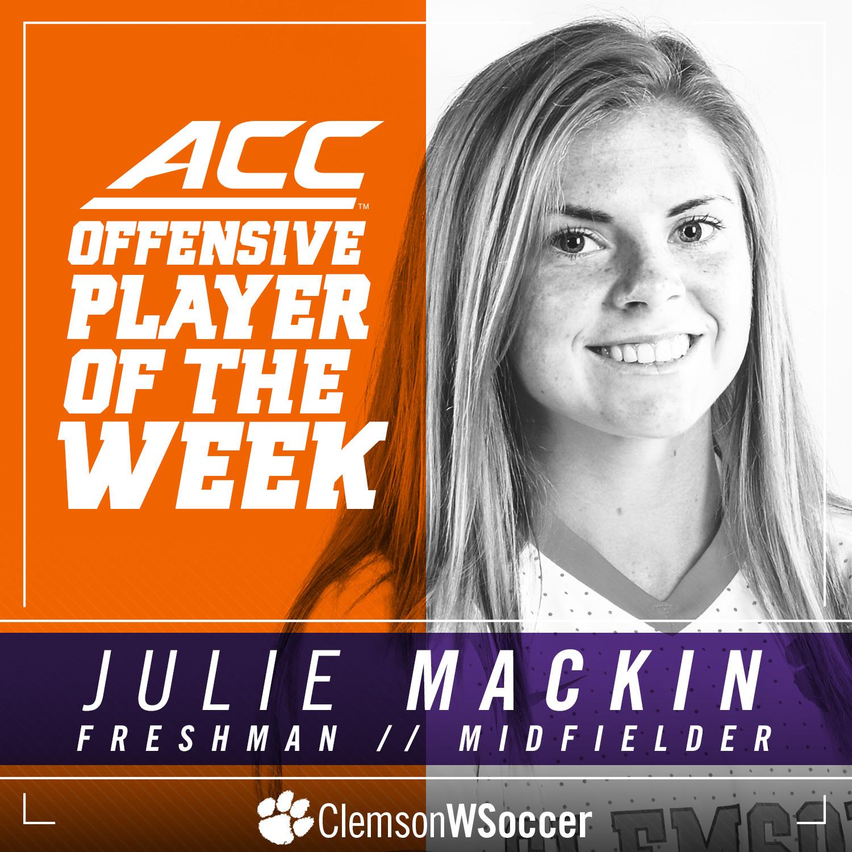 Freshman Julie Mackin Named ACC Offensive Player of the Week