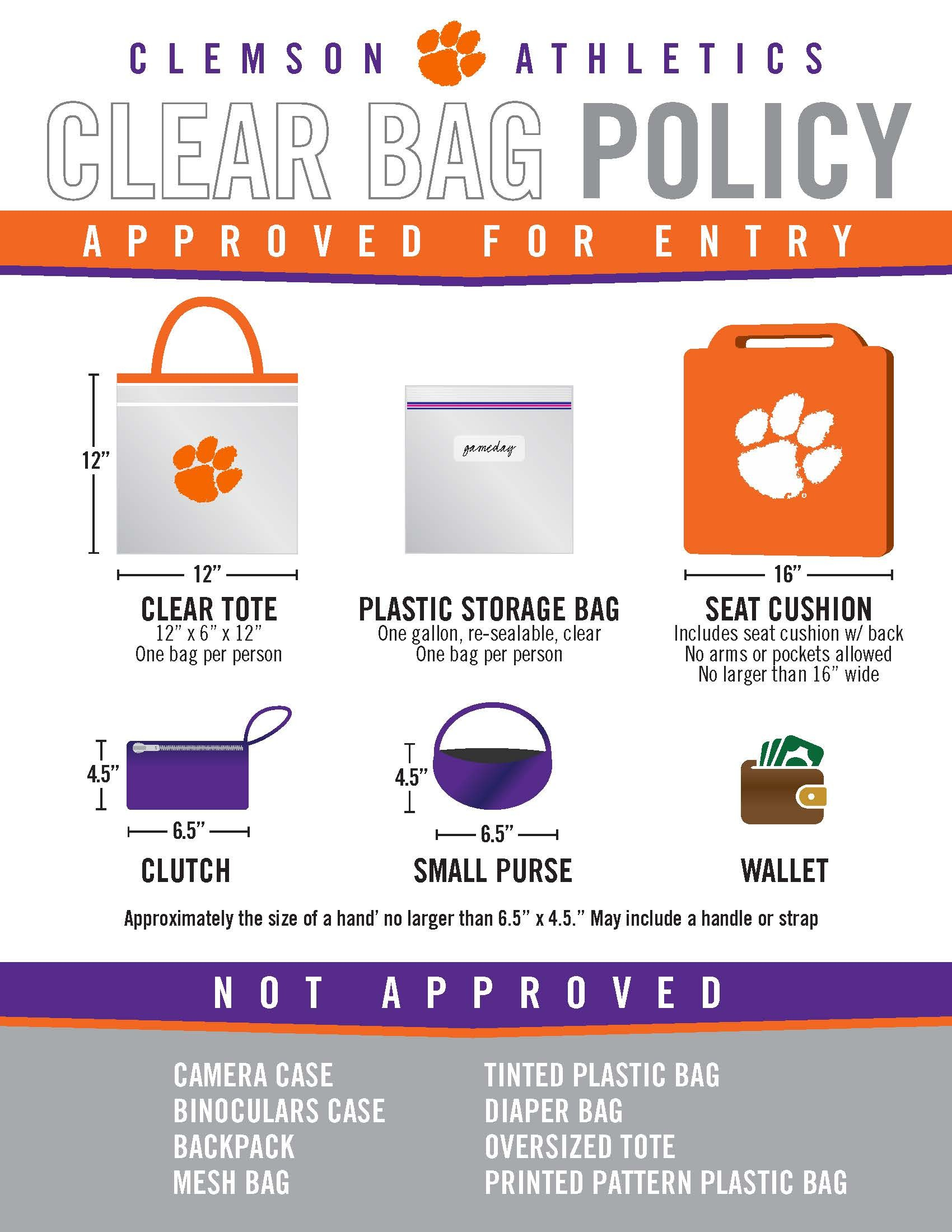 CLEMSON CLEAR BAG POLICY AT MEMORIAL STADIUM