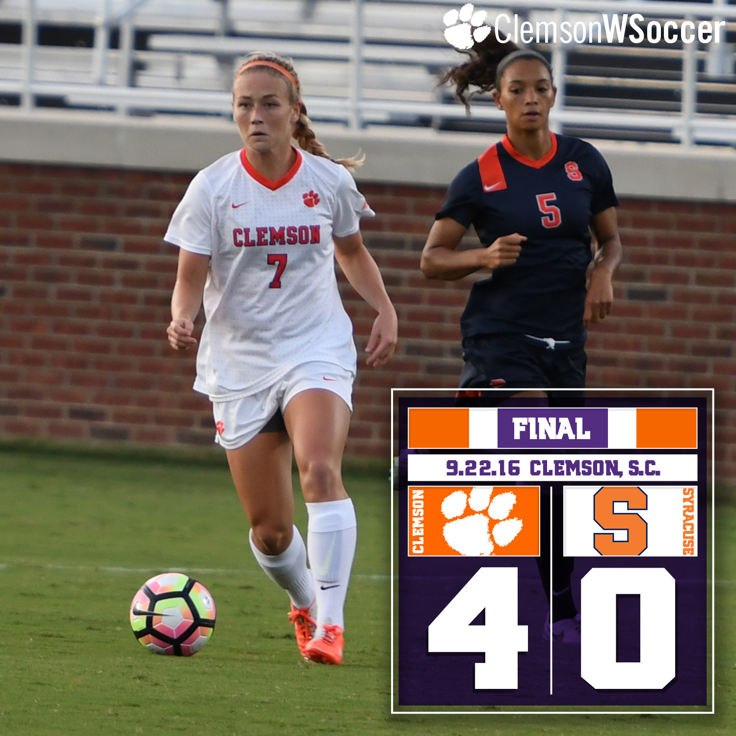 Four Second-Half Goals Lift No. 13 Clemson Over Syracuse Thursday