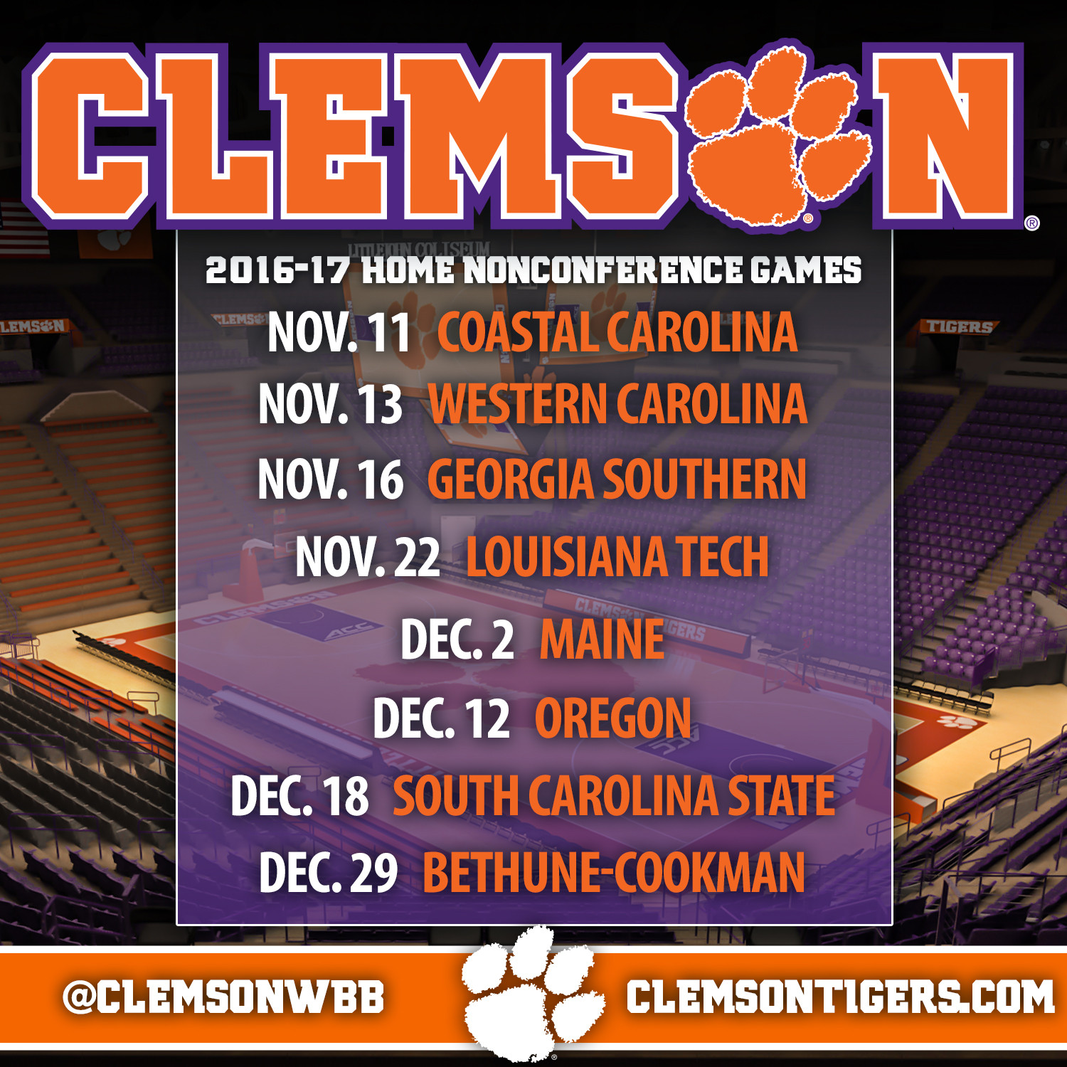 Tigers? 2016-17 Nonconference Schedule Announced