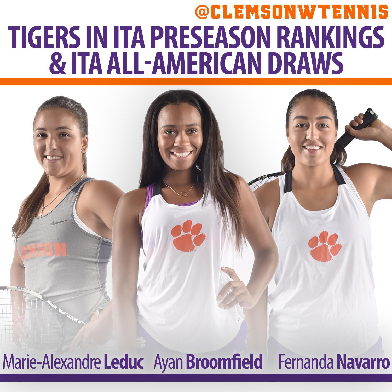 Three Tigers Listed in ITA Preseason Rankings, Qualify for ITA All-American