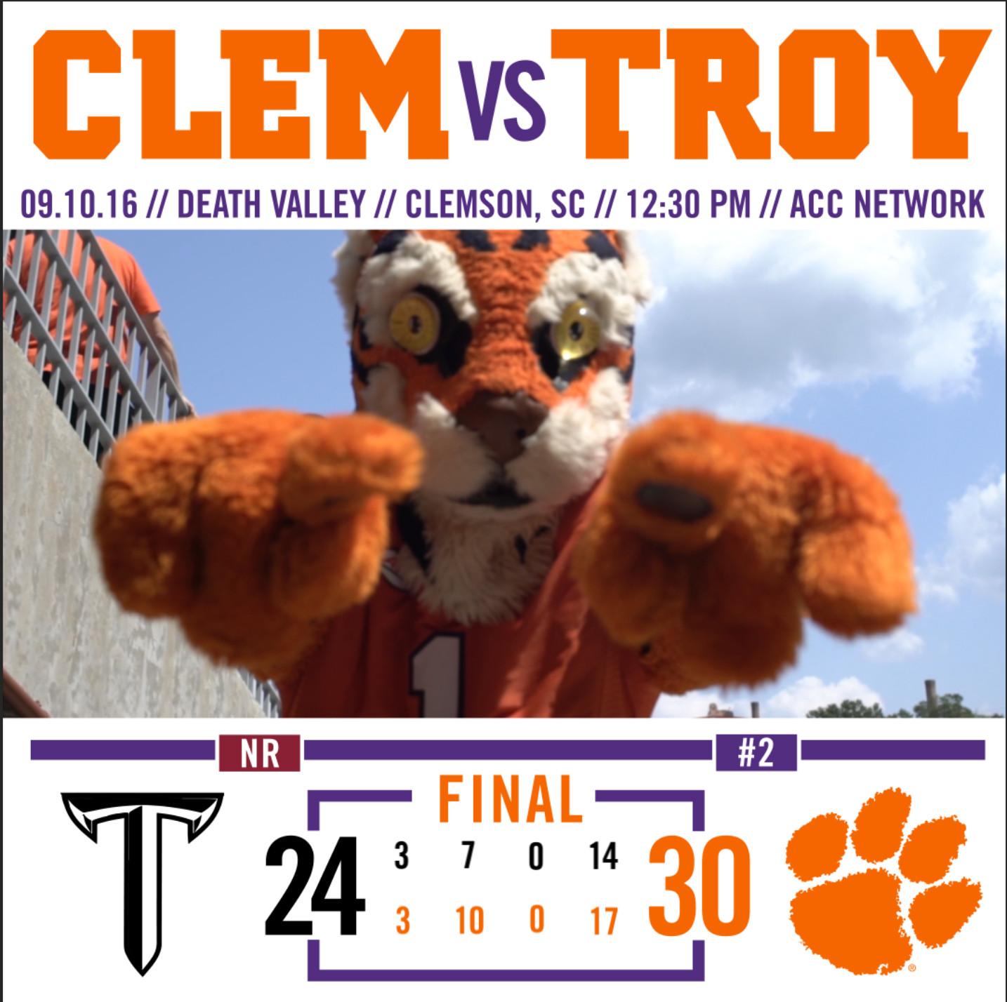 No. 2 Tigers Top Troy 30-24