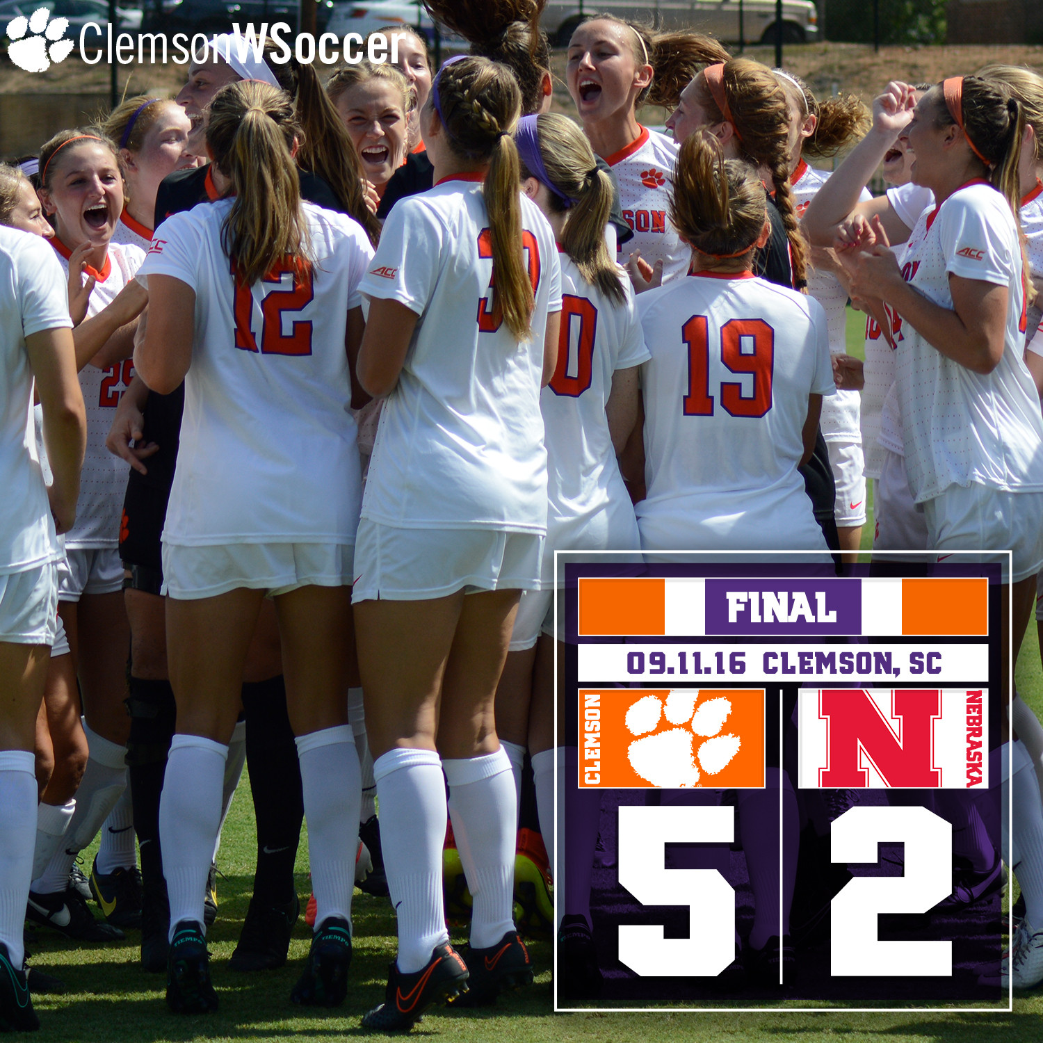 Five Different Players Score in No. 13 Clemson?s 5-2 Win Over Nebraska Sunday