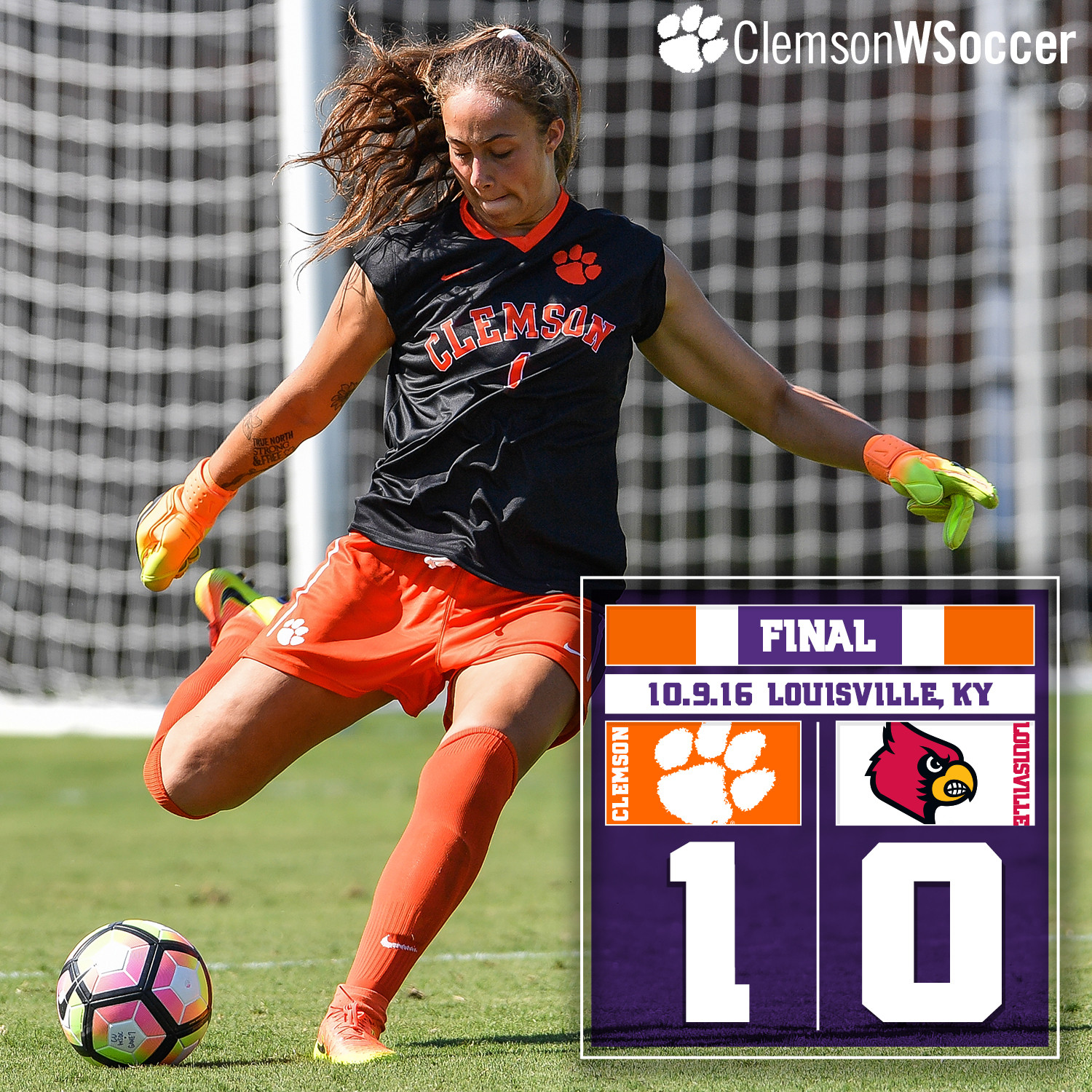 No. 12 Clemson Rebounds with 1-0 Win at Louisville Sunday