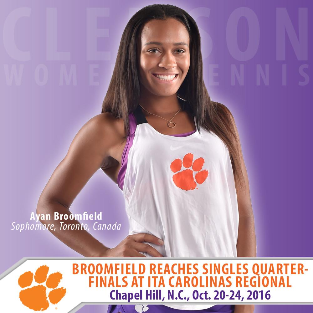 Broomfield Reaches Singles Quarterfinals at ITA Carolinas Regional