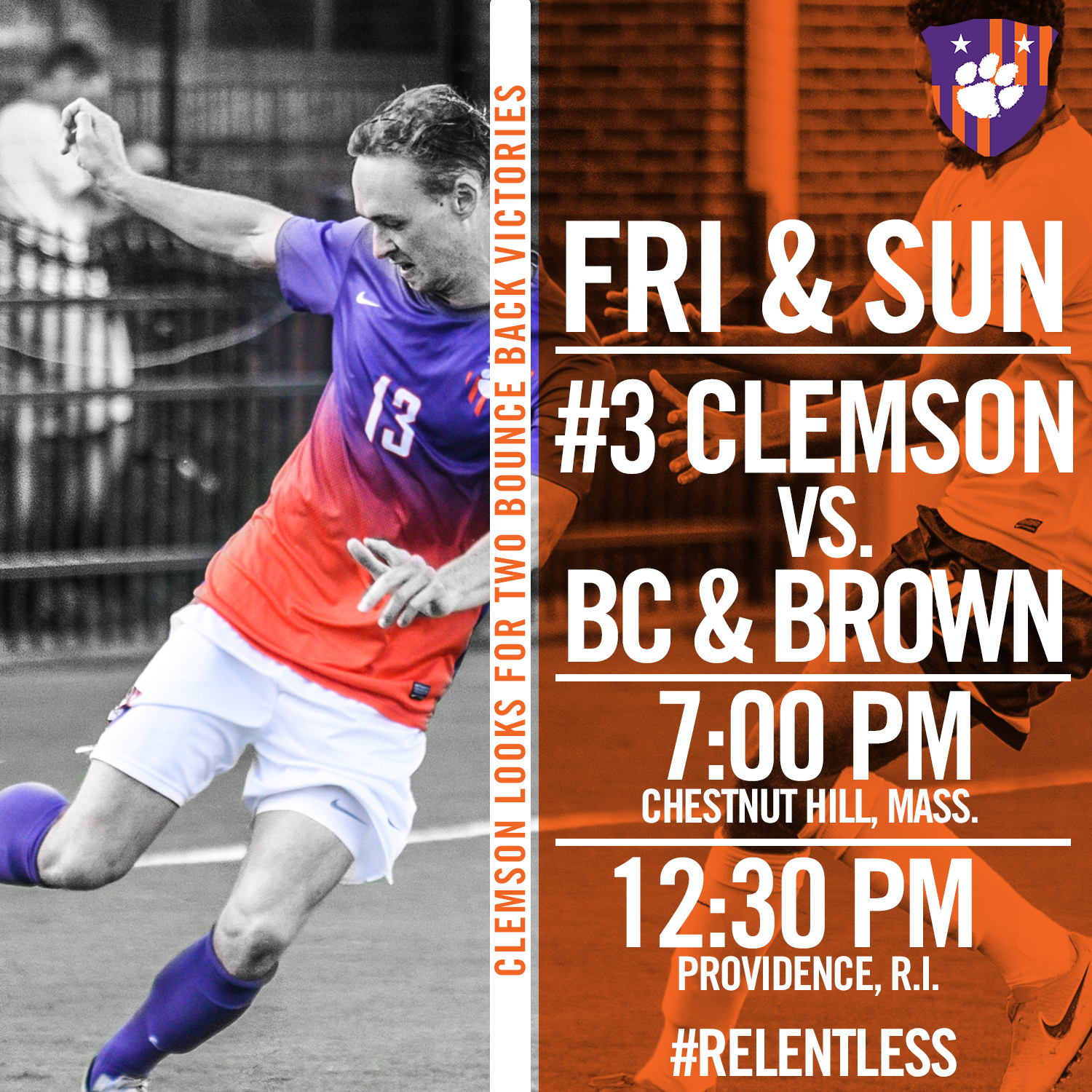 No. 3 Clemson Faces Boston College Friday, Brown Sunday On the Road