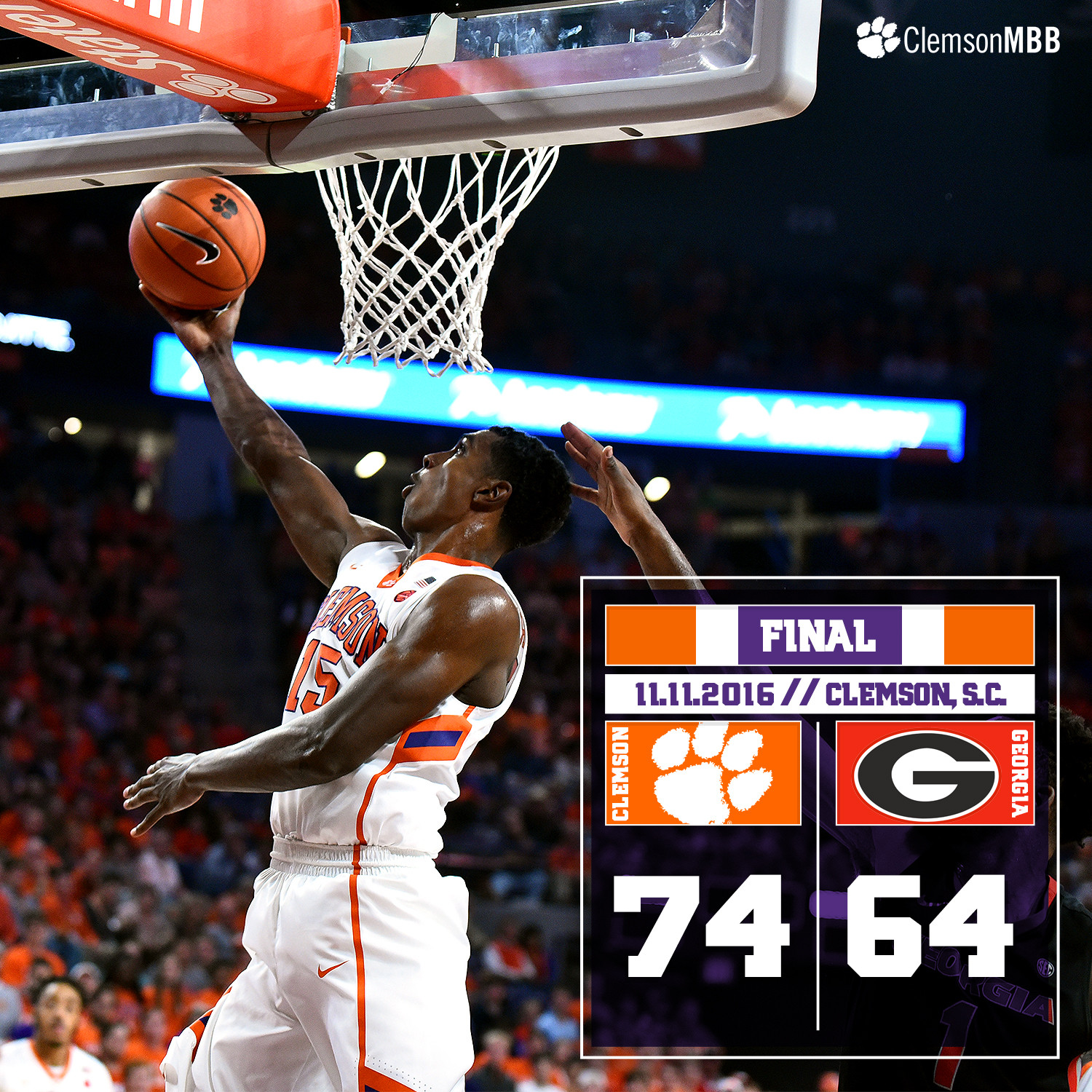 Tigers Trump Georgia, 74-64