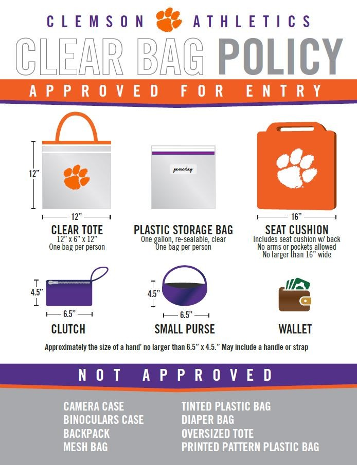 CLEMSON CLEAR BAG POLICY AT LITTLEJOHN COLISEUM