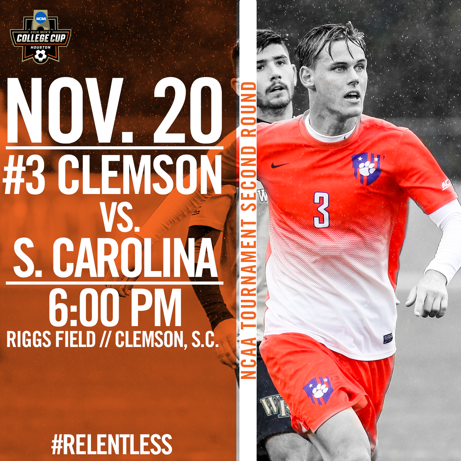 No. 3 Clemson Hosts Rival South Carolina in NCAA Second Round Sunday