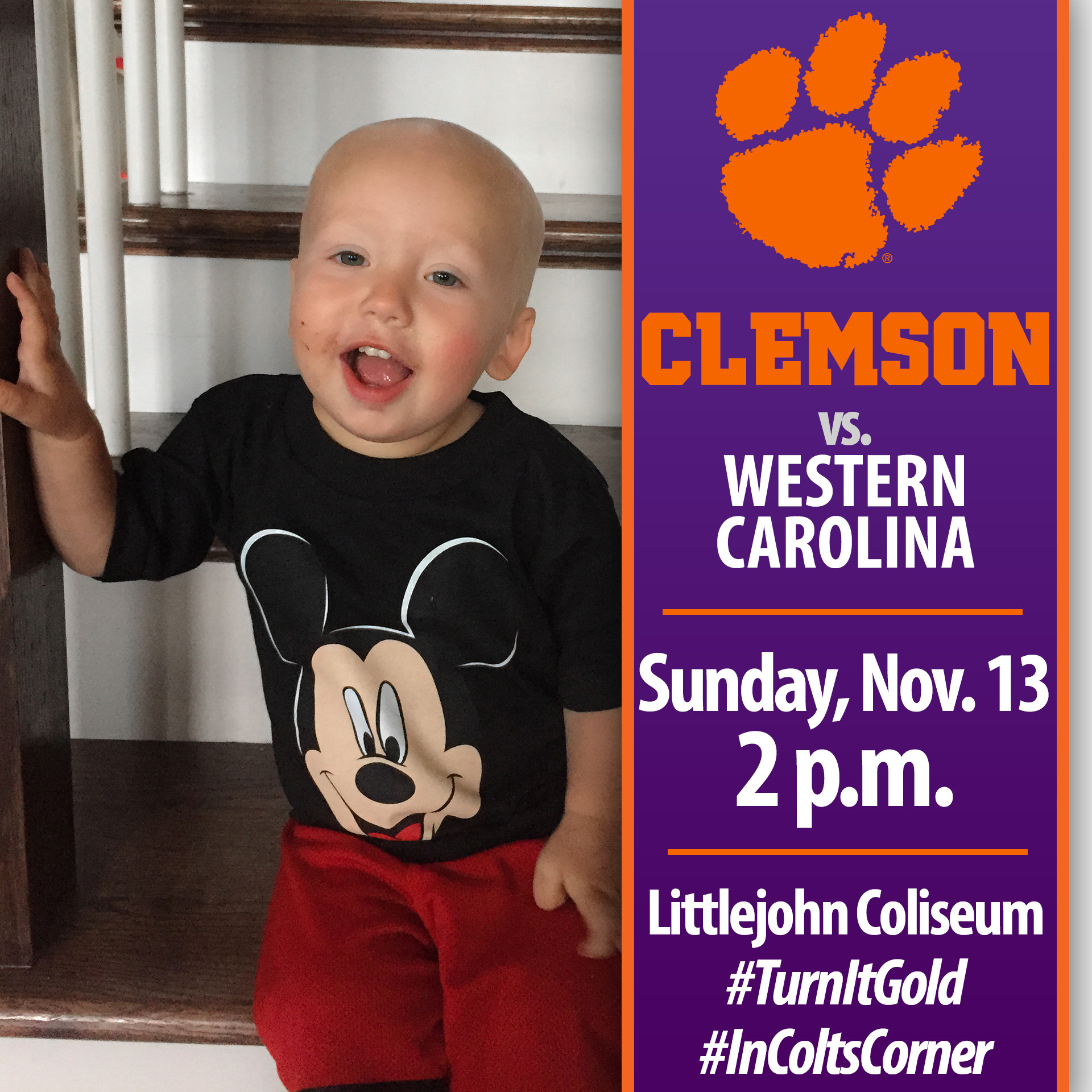 Tigers Host Pediatric Cancer Awareness Game vs. Western Carolina Sunday