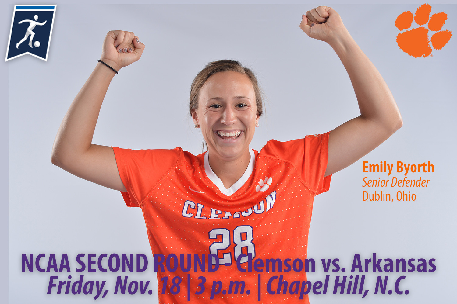 No. 12 Clemson Faces No. 17 Arkansas in NCAA Second Round Friday in Chapel Hill