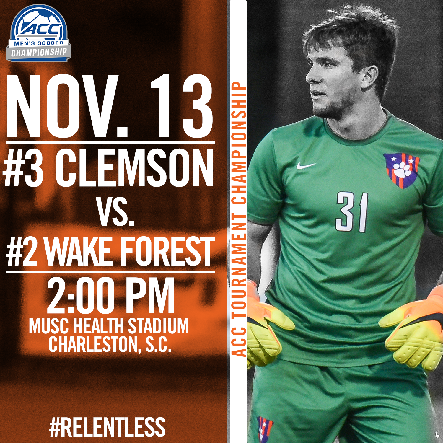 No. 3 Clemson Takes on No. 2 Wake Forest in ACC Championship Sunday in Charleston
