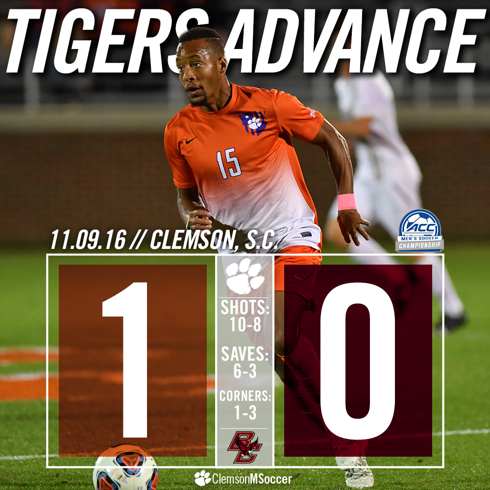 Clemson Punches Ticket to ACC Title Game, Defeats Boston College 1-0 in Final Minutes