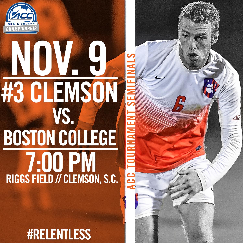 Clemson Hosts Boston College in ACC Semifinals Wednesday
