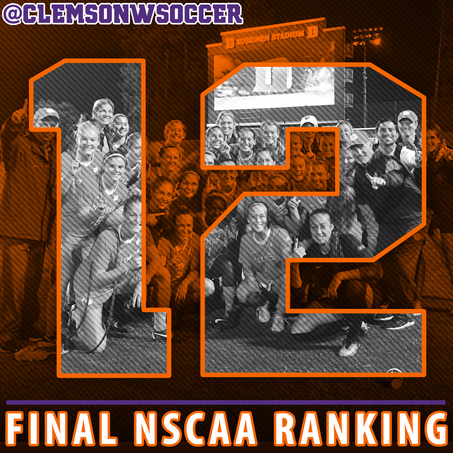 Clemson Ranked 12th in Final NSCAA Poll, Best Finish Since 2001
