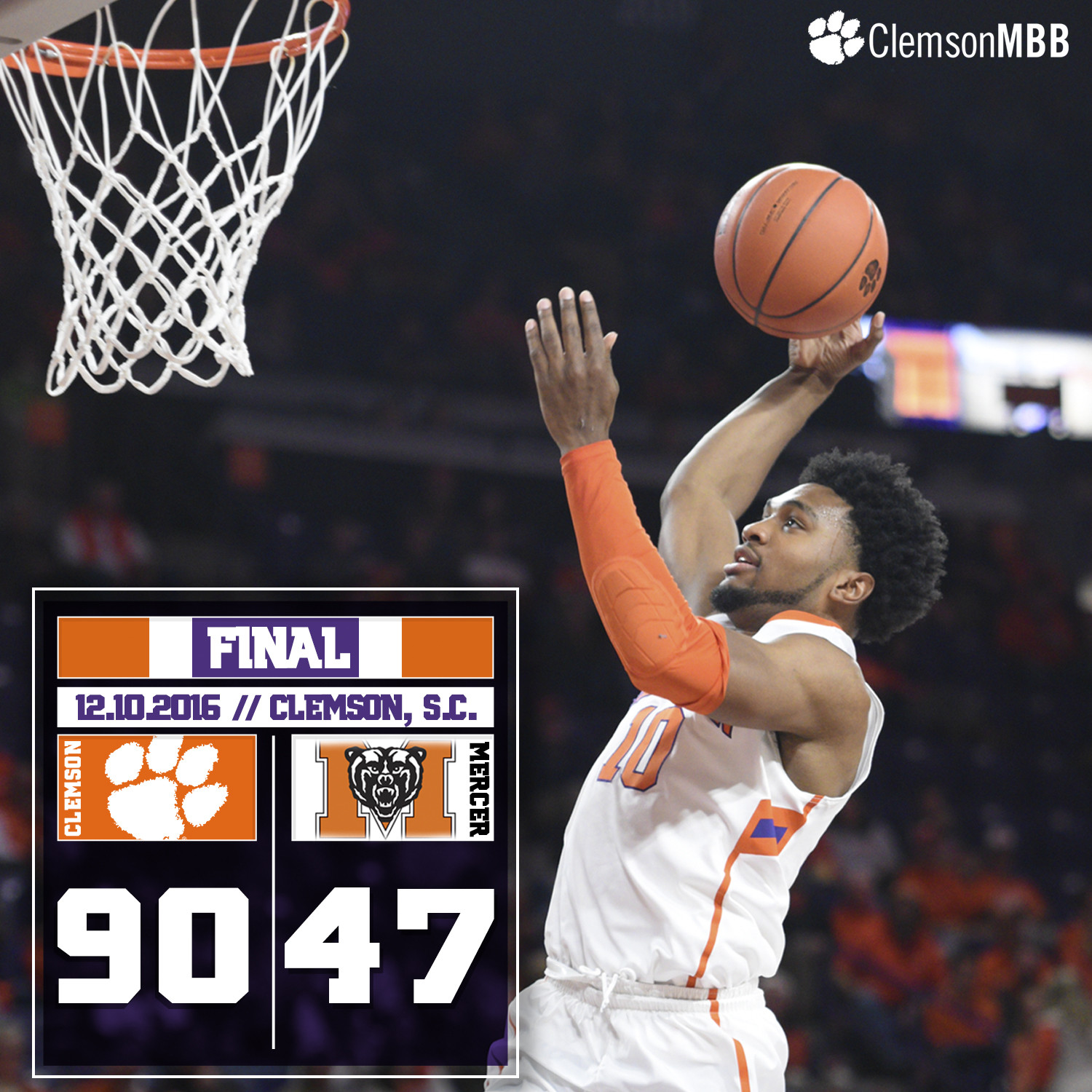 Clemson Defeats Mercer, 90-47