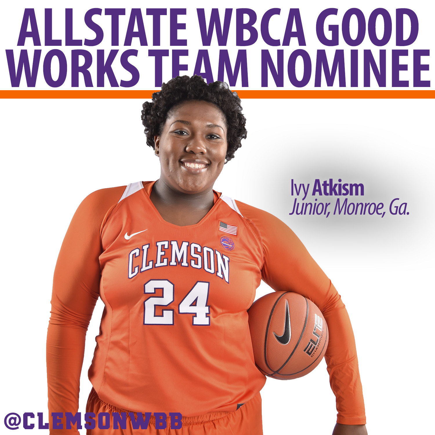 Ivy Atkism Named Nominee for Allstate WBCA Good Works Team