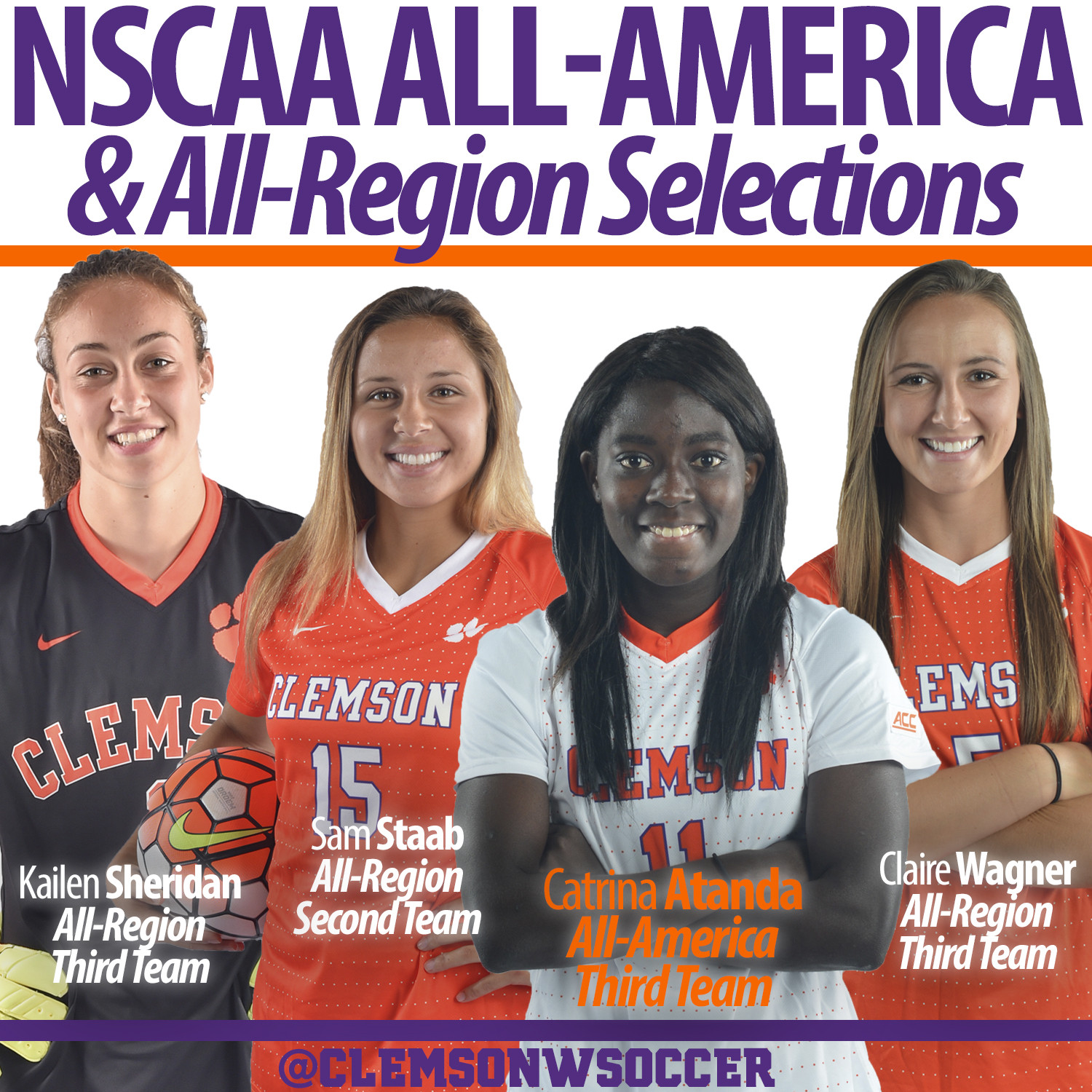 Atanda Earns NSCAA All-America Honors, Three Other Tigers Named All-Region