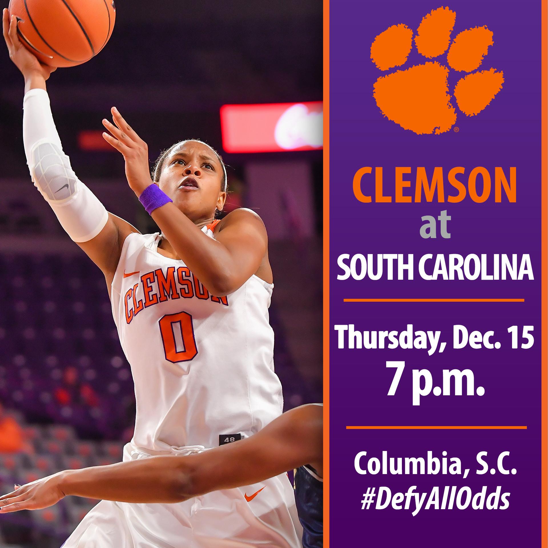 Clemson Travels to Columbia to Face No. 6/6 South Carolina Thursday