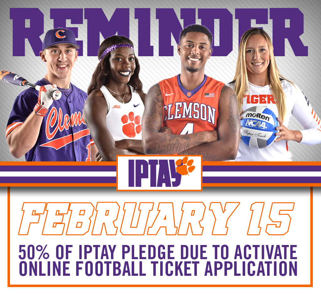 REMINDER: 50% of IPTAY Donation Due February 15