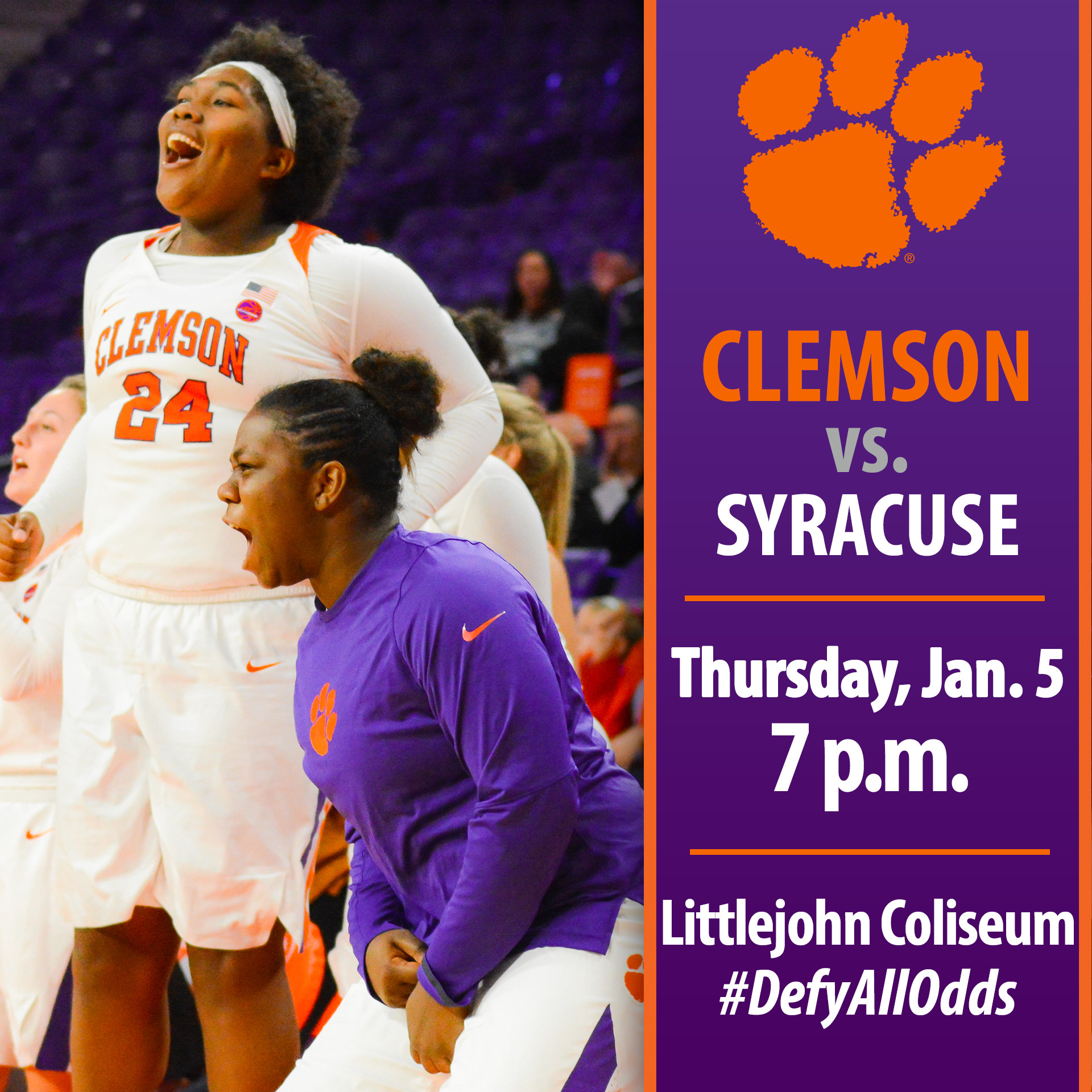 Tigers Host No. 25 Syracuse Thursday in ACC Home Opener
