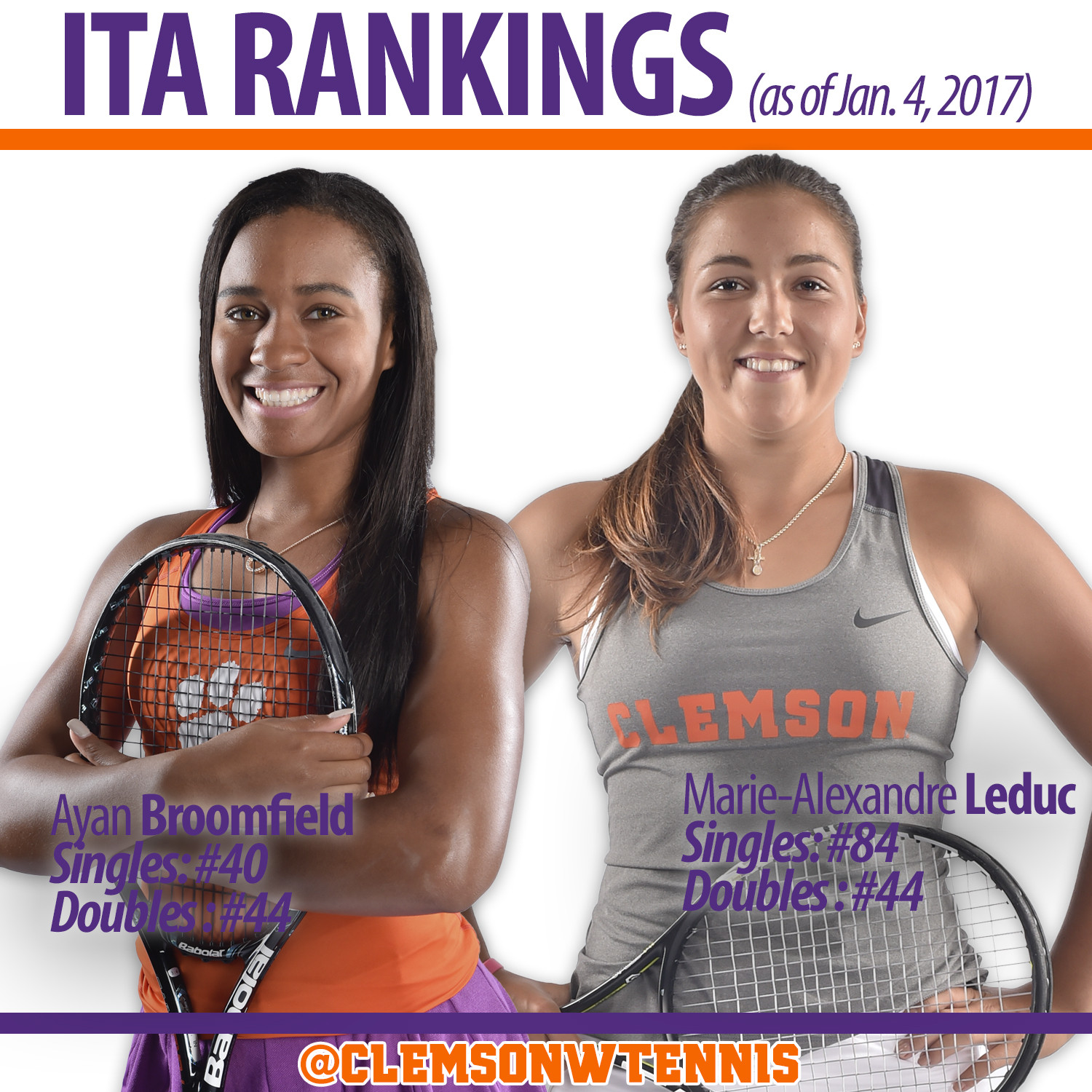 Two Tigers Ranked in Singles & Doubles