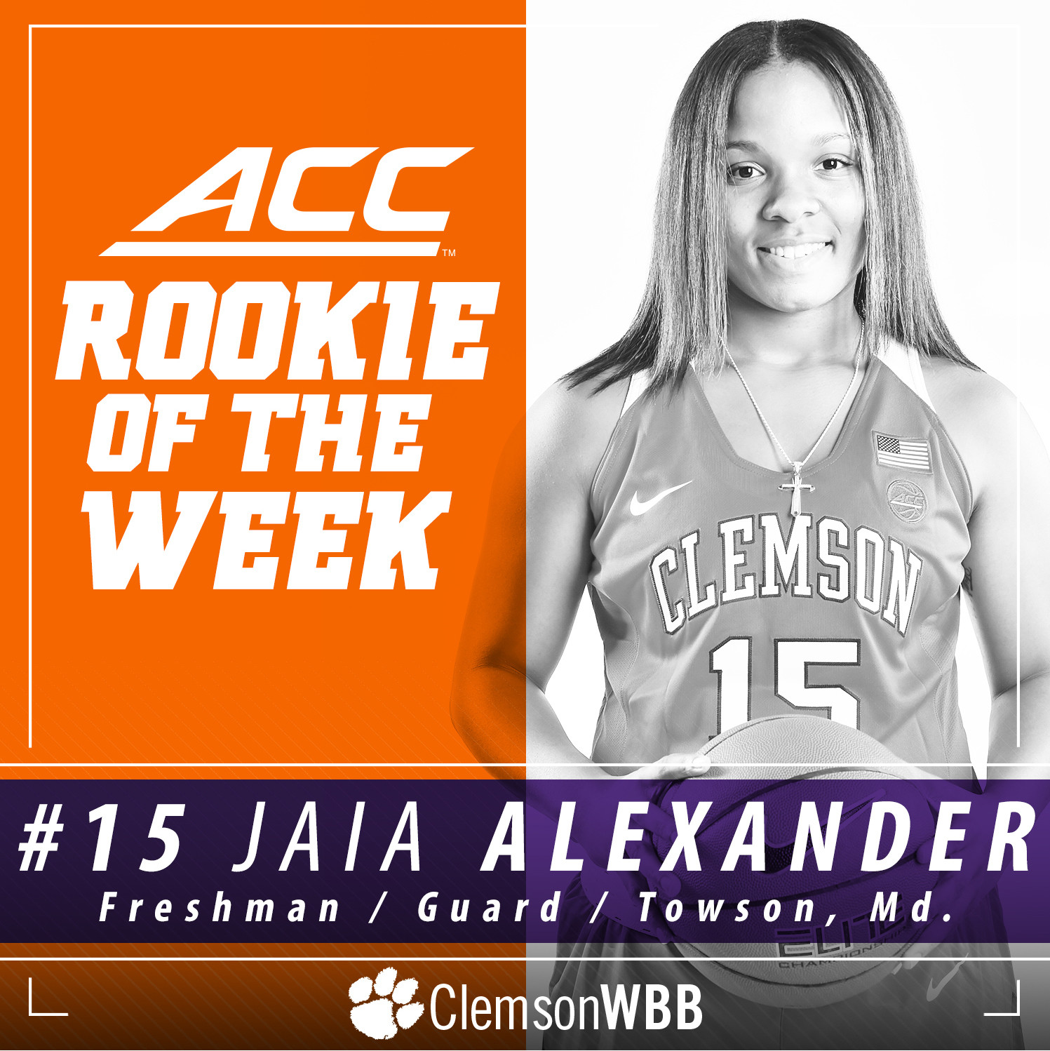 Jaia Alexander Named ACC Rookie of the Week