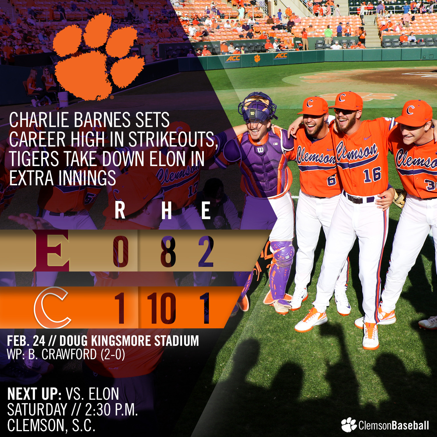 Tigers Edge Elon 1-0 in 13
