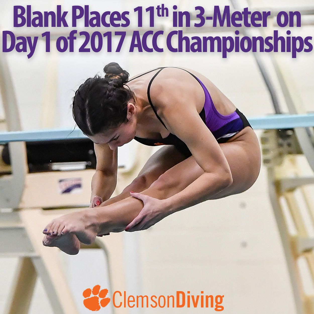 Blank Places 11th, Three Tigers Score in 3M at ACC Championships Monday