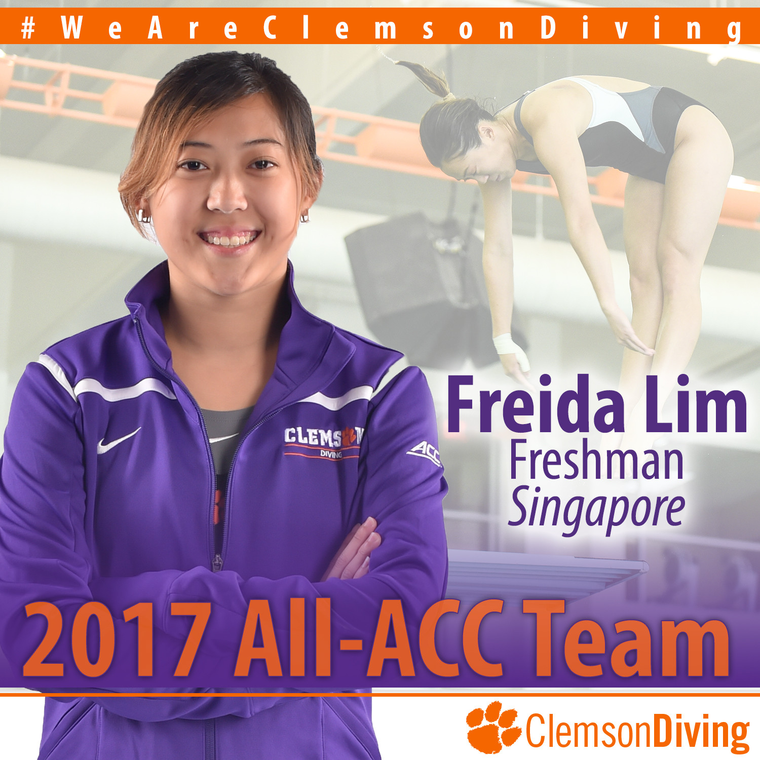 Freshman Diver Freida Lim Earns All-ACC Honors