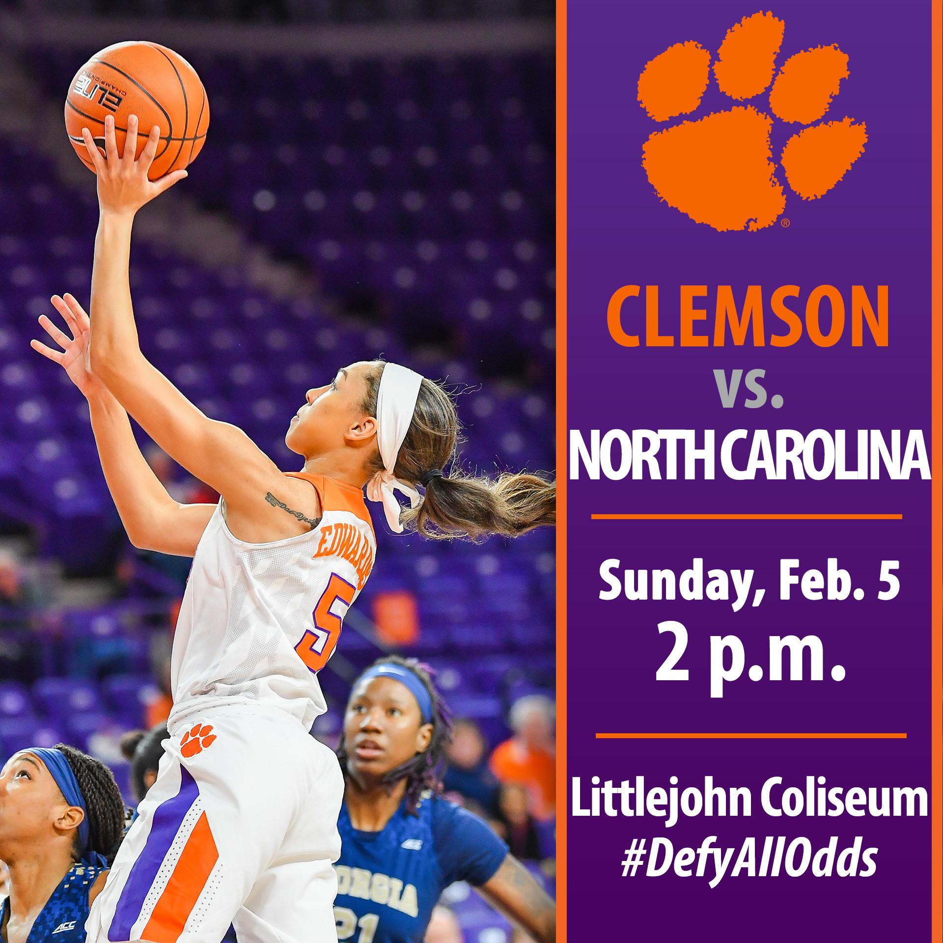 Clemson Hosts North Carolina Sunday