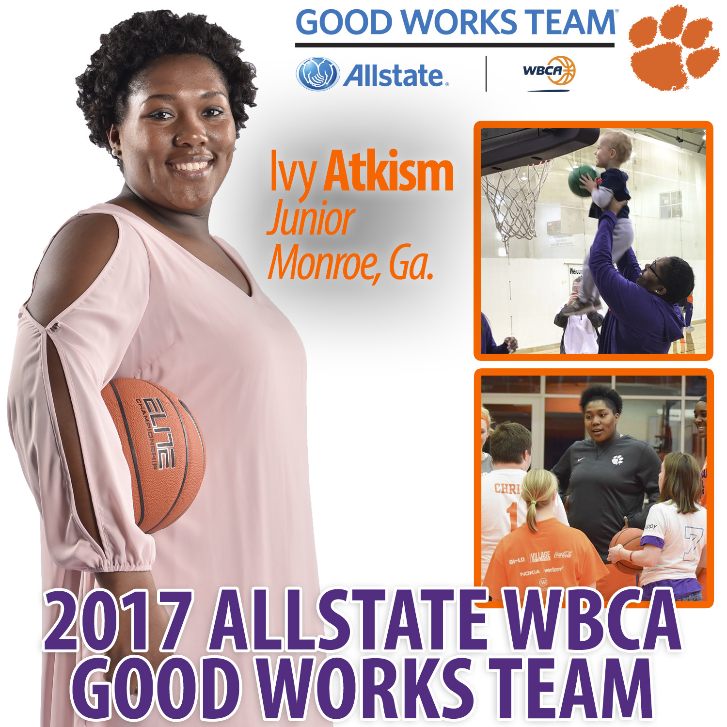 Ivy Atkism Named to 2017 Allstate WBCA Good Works Team