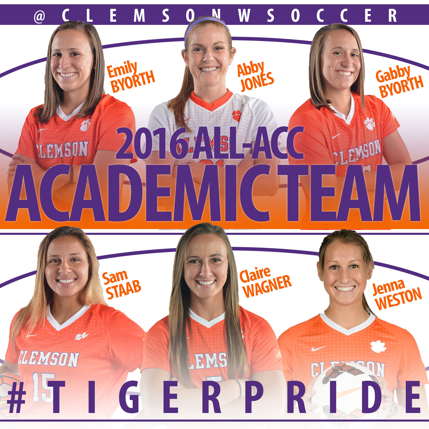 Six Clemson Players Named to All-ACC Academic Team