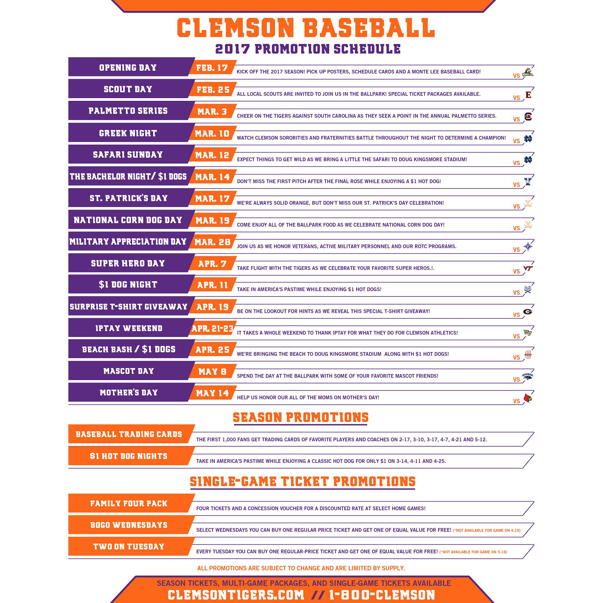2017 Baseball Promotions