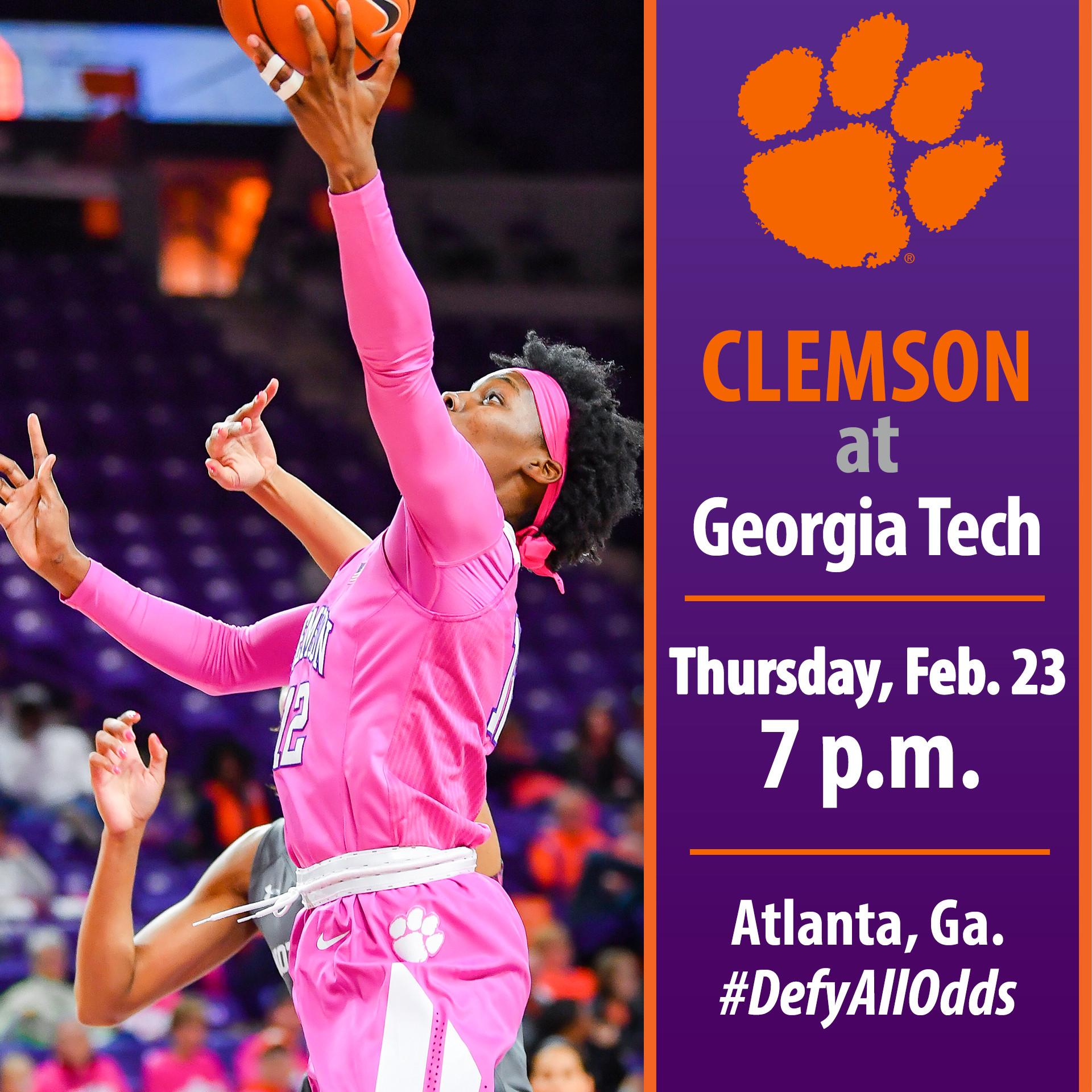 Clemson Concludes Regular Season Play at Georgia Tech Thursday
