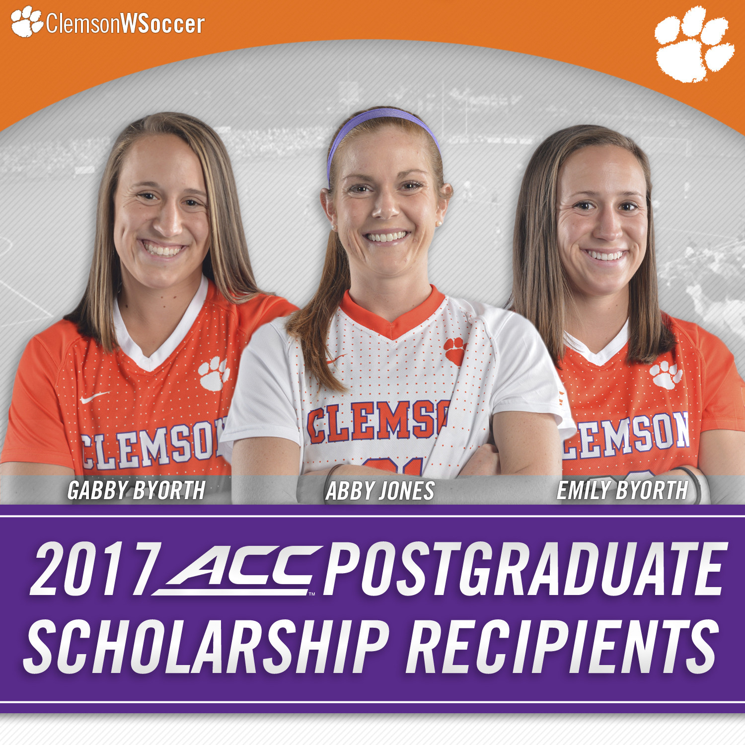 Three Tiger Women's Soccer Players Earn ACC Postgraduate Scholarships