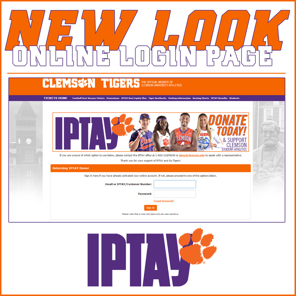 IPTAY Debuts New Look Online Login Page